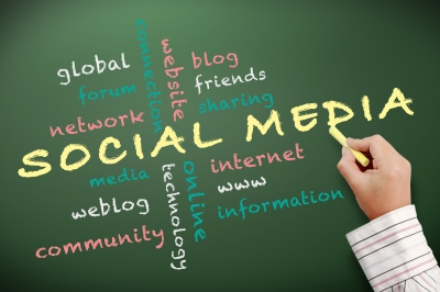social media on a chalk board
