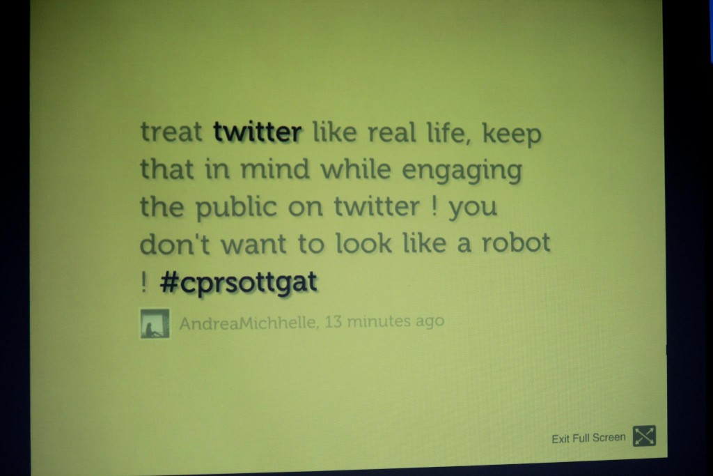 a tweet about my presentation showed up on the big screen