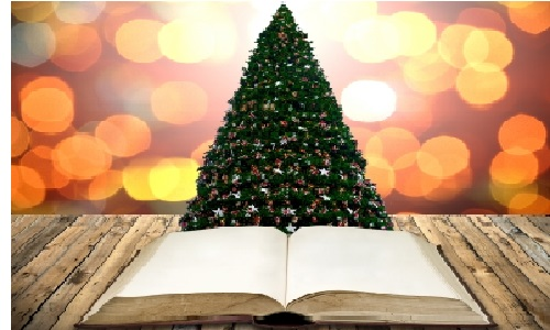 christmas tree and a book